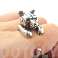 3D Polar Bear Wrapped Around Your Finger Shaped Ring in Shiny Silver