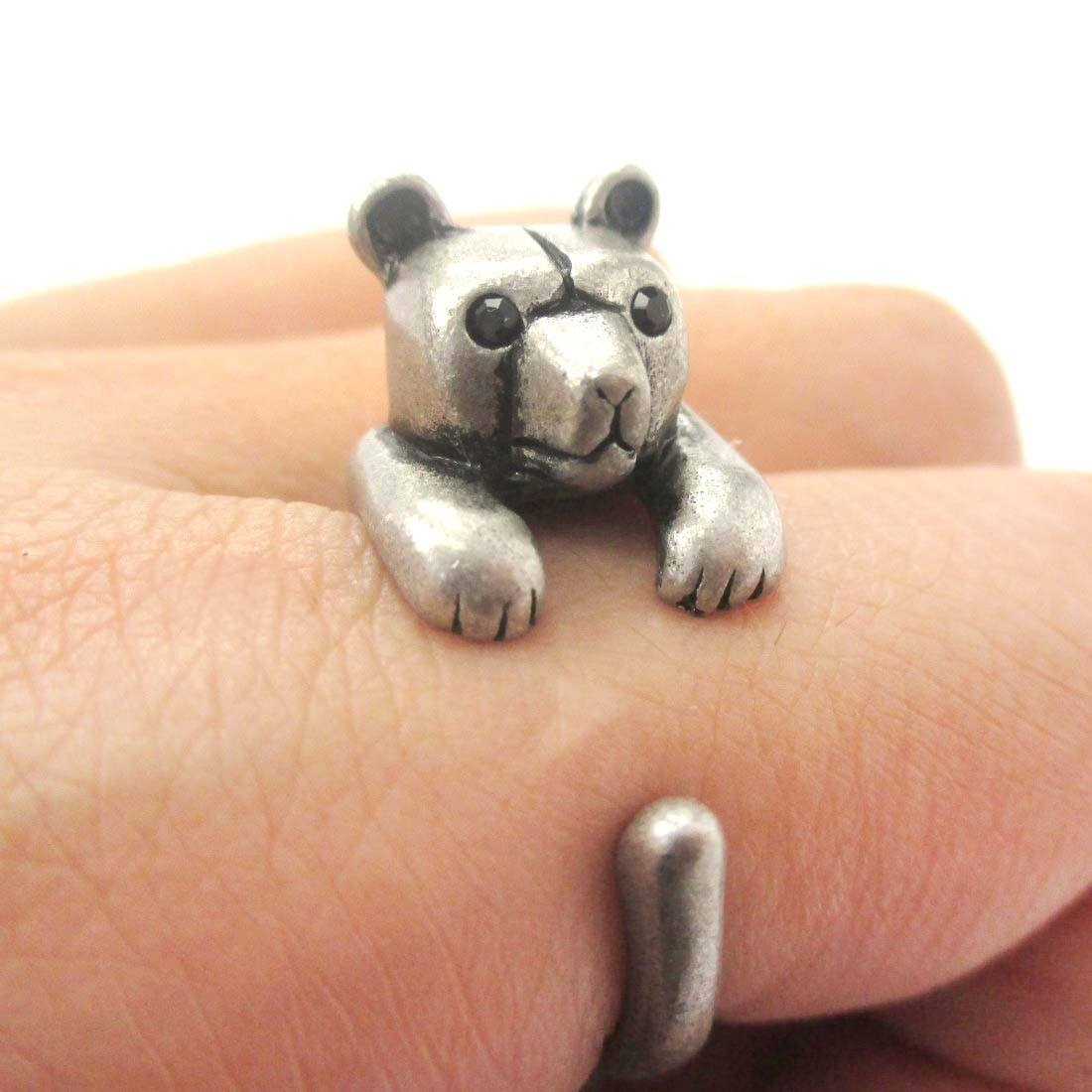 3D Polar Bear Wrapped Around Your Finger Shaped Animal Ring in Silver
