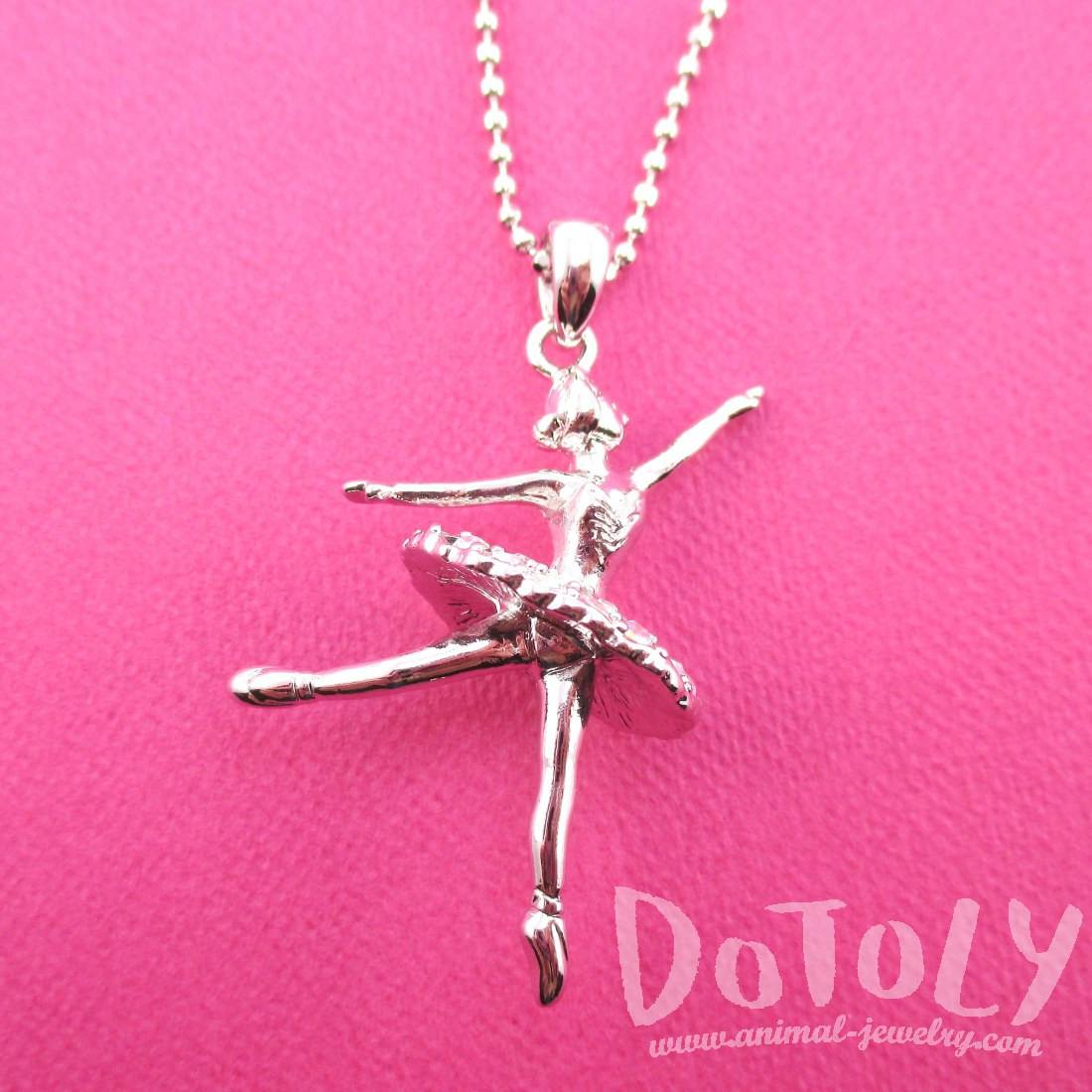 3D Ballet Ballerina Dancer Themed Necklace in Silver