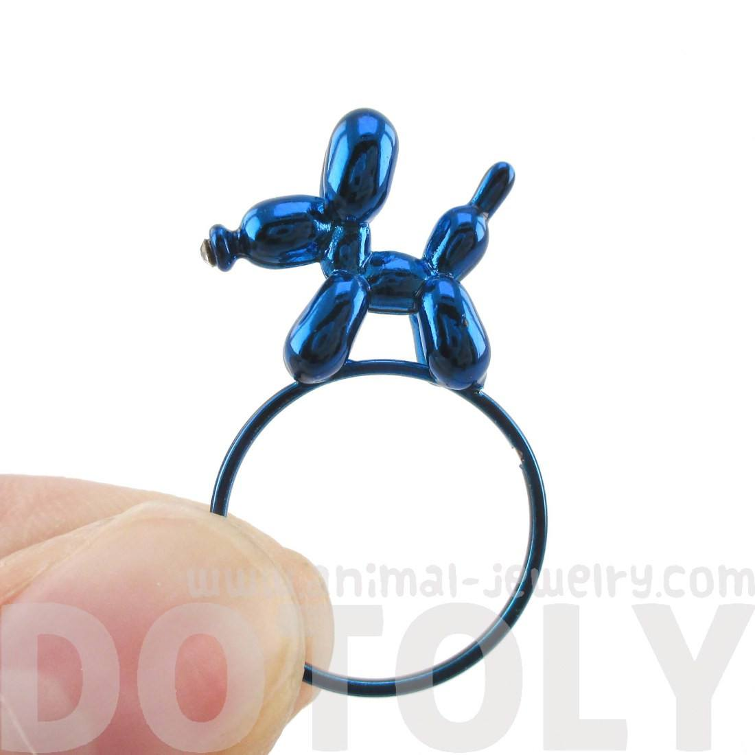 3D Balloon Dog Puppy Shaped Ring in Blue | DOTOLY