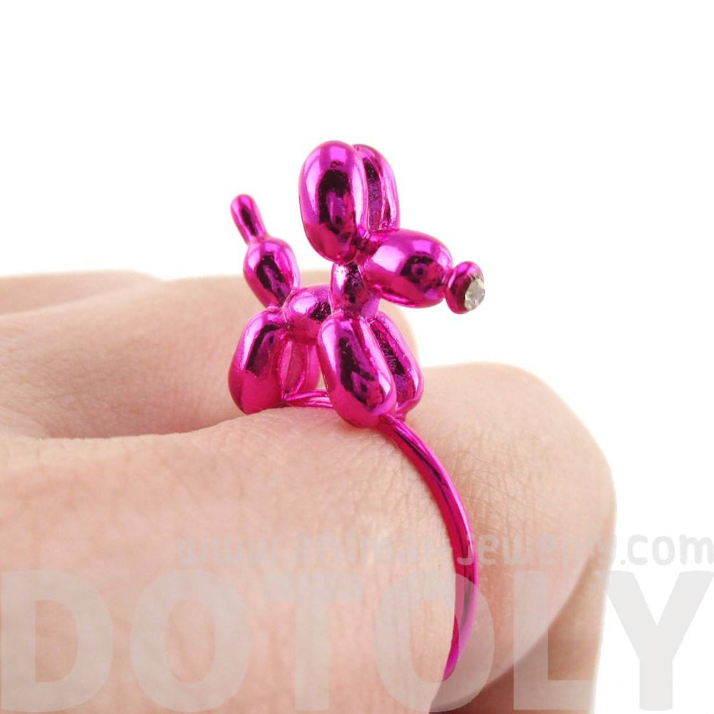3D Balloon Dog Puppy Shaped Ring in Pink | DOTOLY