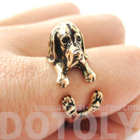 Basset Hound Dog Shaped Animal Wrap Ring in Shiny Gold