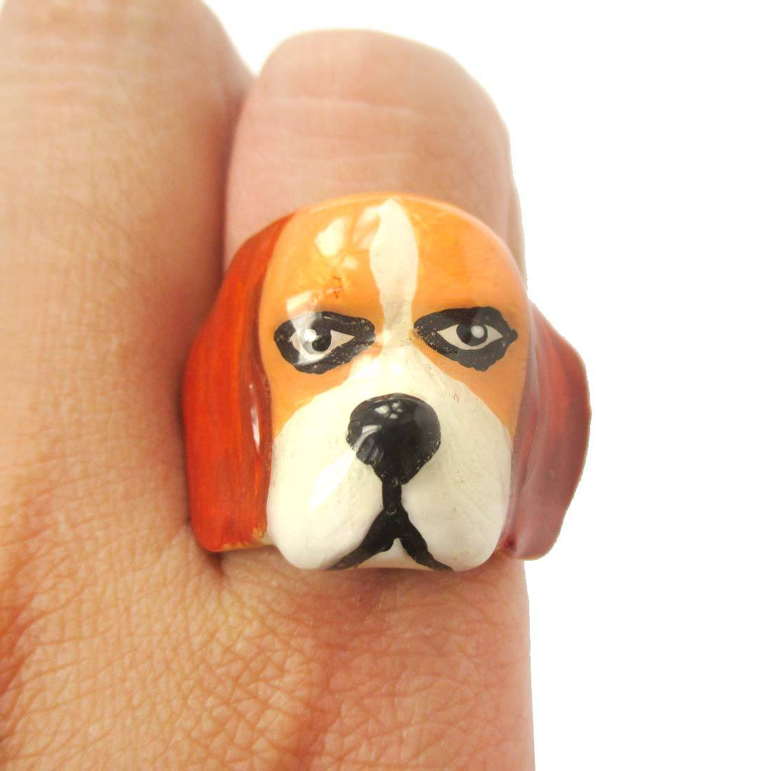 3D Beagle Puppy Dog Face Shaped Enamel Animal Ring in US Size 6 and 7