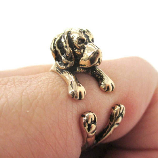 3D Beagle Dog Shaped Animal Wrap Ring in Shiny Gold