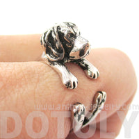 3D Beagle Dog Shaped Animal Wrap Ring in Shiny Silver | Sizes 4 to 8.5 | DOTOLY