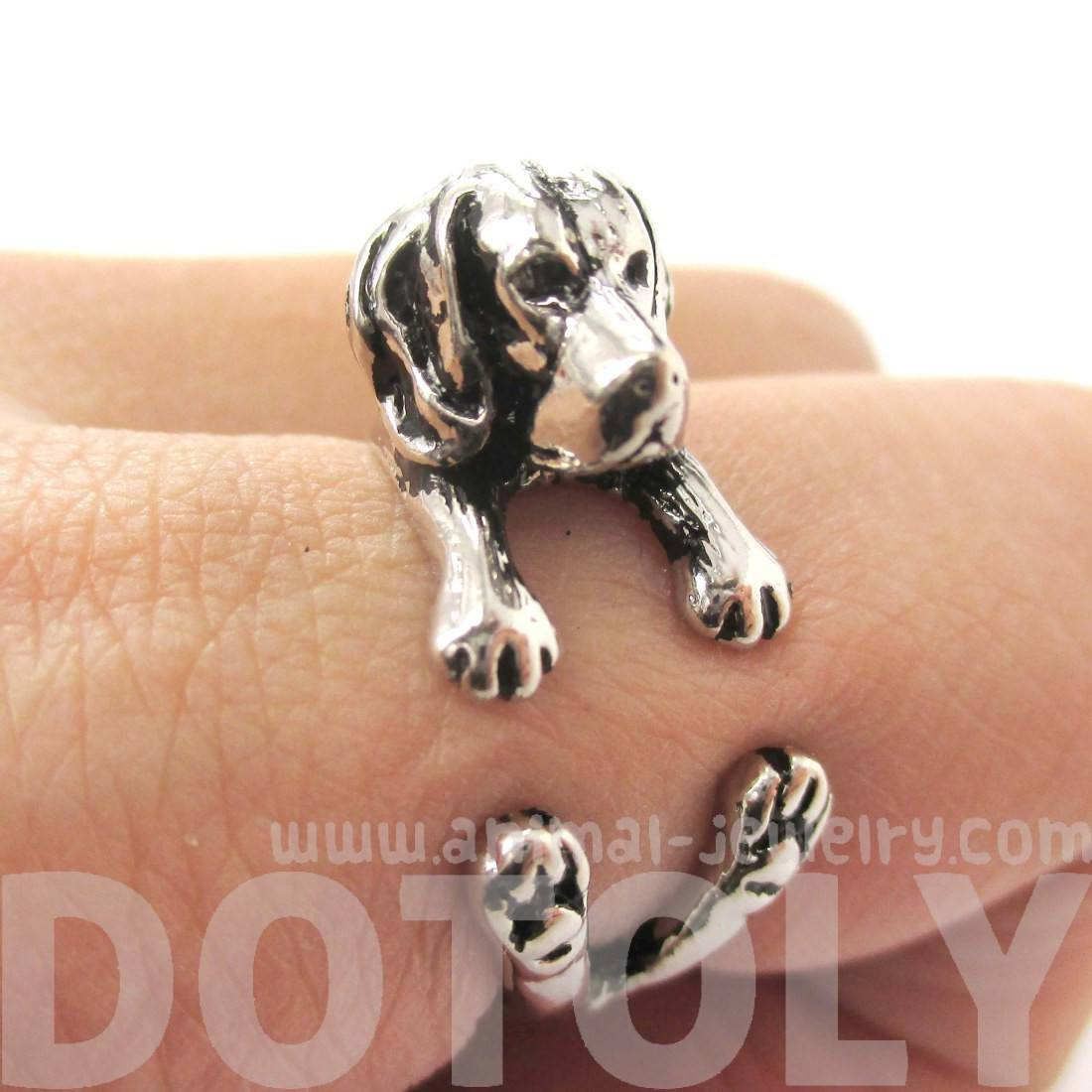 3D Beagle Dog Shaped Animal Wrap Ring in Shiny Silver