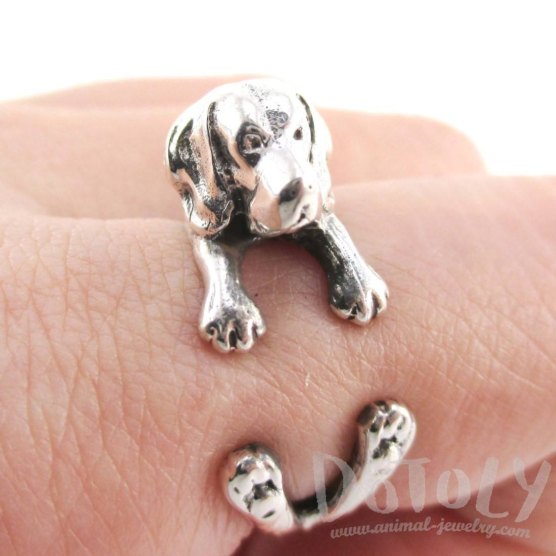 Beagle Puppy Shaped Animal Wrap Ring in Sterling Silver