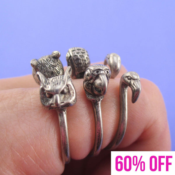 Bird Inspired Rings in the Shape of Flamingo Parrot and Owl in Silver
