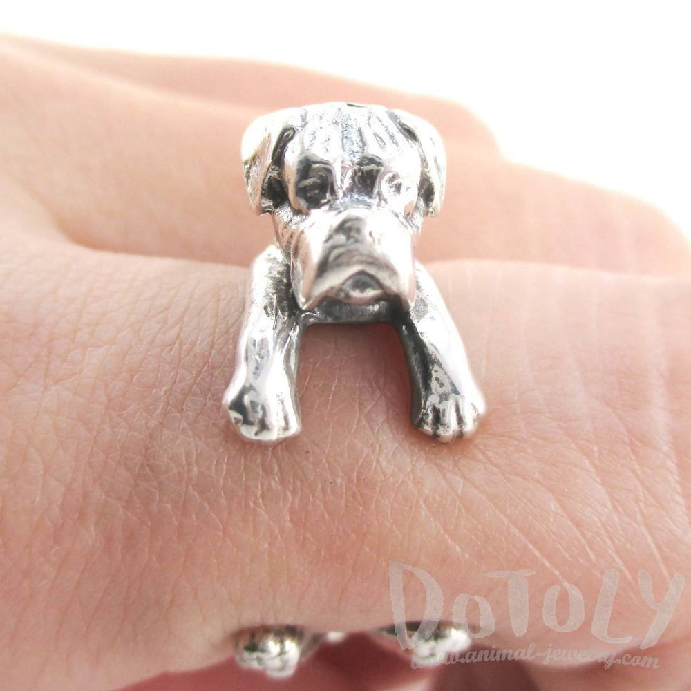 3D Boxer Dog Shaped Animal Wrap Ring in Sterling Silver