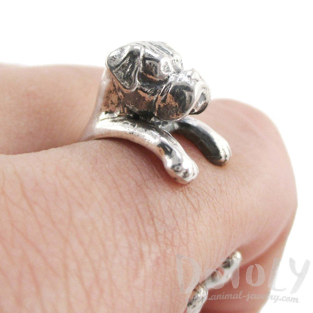 3D Boxer Dog Shaped Animal Wrap Ring in 925 Sterling Silver | Sizes 3 to 7 | DOTOLY