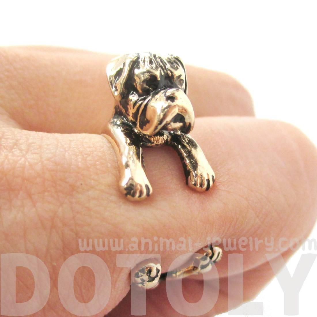 3D Boxer Dog Shaped Animal Wrap Ring in Shiny Gold