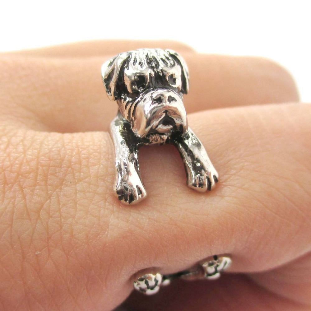 3D Boxer Dog Shaped Animal Wrap Ring in Shiny Silver