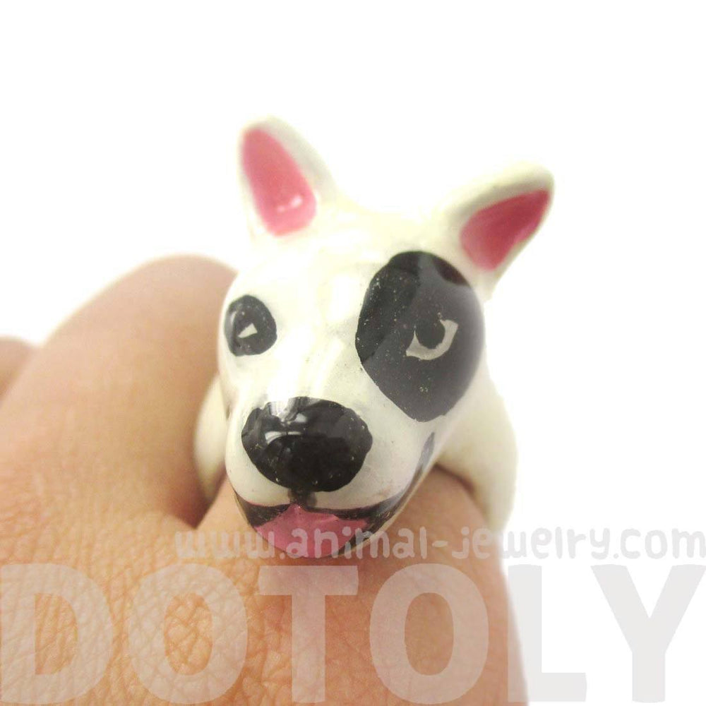 3D Bull Terrier Dog Shaped Enamel Animal Ring in White With Black Spot