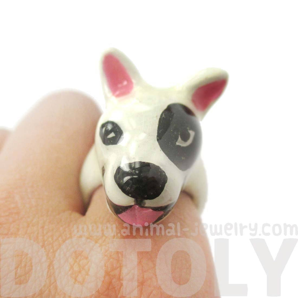 3D Bull Terrier Dog Face Shaped Enamel Animal Ring in White With Black Spot | Limited Edition | DOTOLY