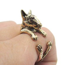 Bull Terrier Dog Shaped Animal Wrap Ring in Shiny Gold