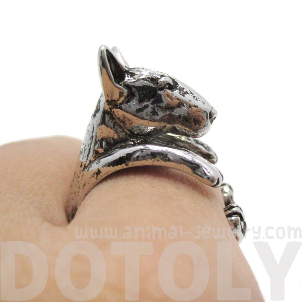 3D Bull Terrier Dog Shaped Animal Ring in Shiny Silver
