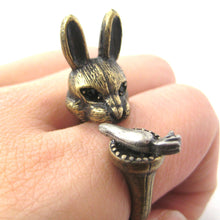 3D Bunny Rabbit with Carrot Animal Wrap Ring in Brass | Sizes 8 to 11