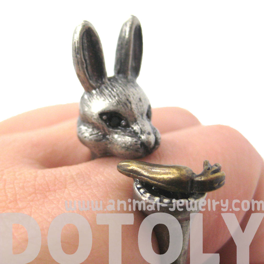 3D Bunny Rabbit with Carrot Animal Wrap Ring in Silver | Sizes 8 to 11