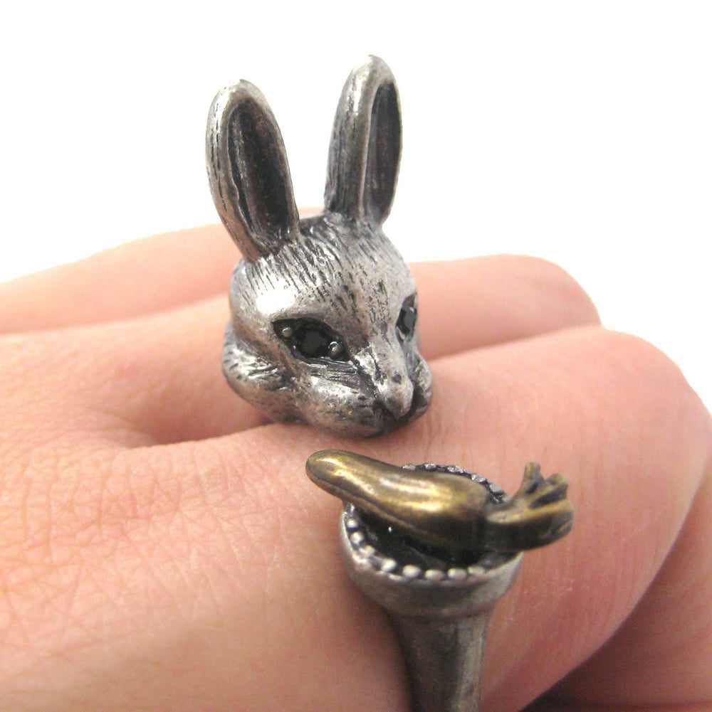 3D Bunny Rabbit with Carrot Animal Wrap Ring in Silver | US Sizes 8 to 11 | DOTOLY