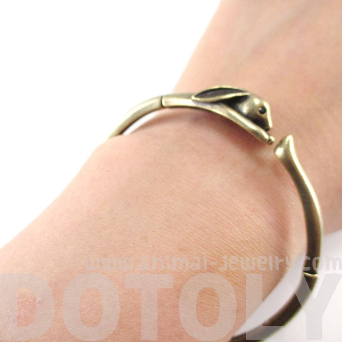 Bunny Rabbit Wrapped Around Your Wrist Bangle in Brass