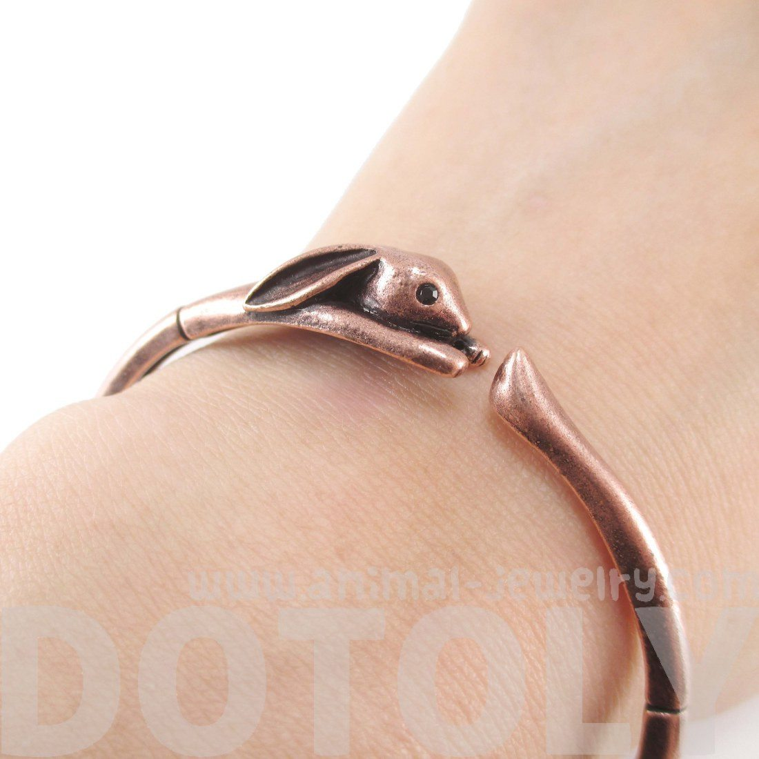 Bunny Rabbit Wrapped Around Your Wrist Bangle in Copper