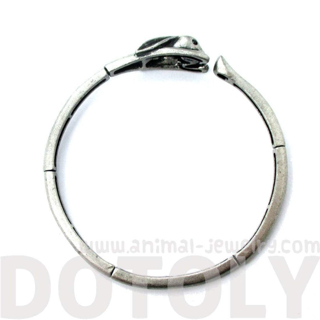 Bunny Rabbit Wrapped Around Your Wrist Shaped Silver Bangle Bracelet
