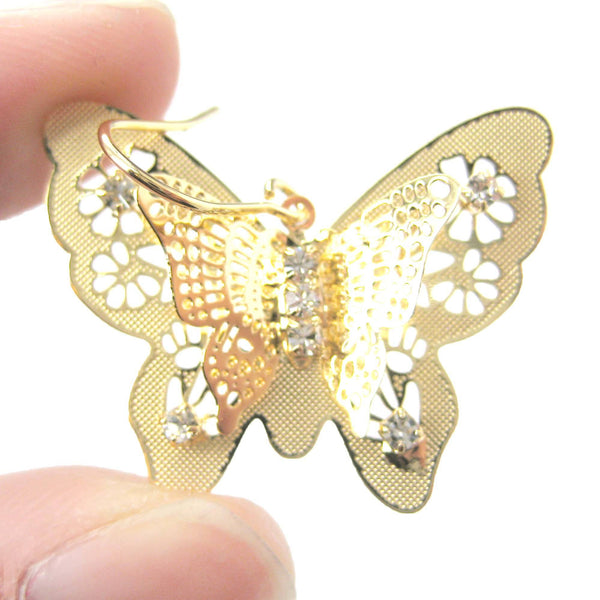 3D Butterfly Shaped Dangle Earrings in Gold With Floral Cut Out Detail