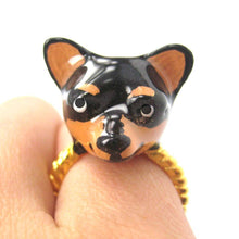 3D Chihuahua Dog Face Shaped Enamel Animal Ring Black and Tan | DOTOLY