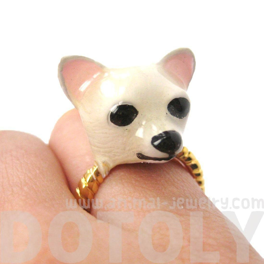 3D Chihuahua Dog Face Shaped Enamel Limited Edition Animal Ring