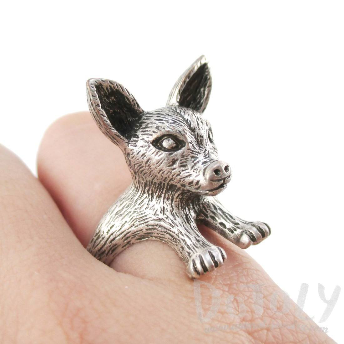 3D Chihuahua Puppy Dog Shaped Animal Ring in Silver