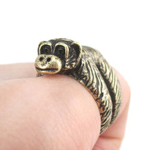 3D Chimpanzee Wrapped Around Your Finger Shaped Animal Ring | DOTOLY