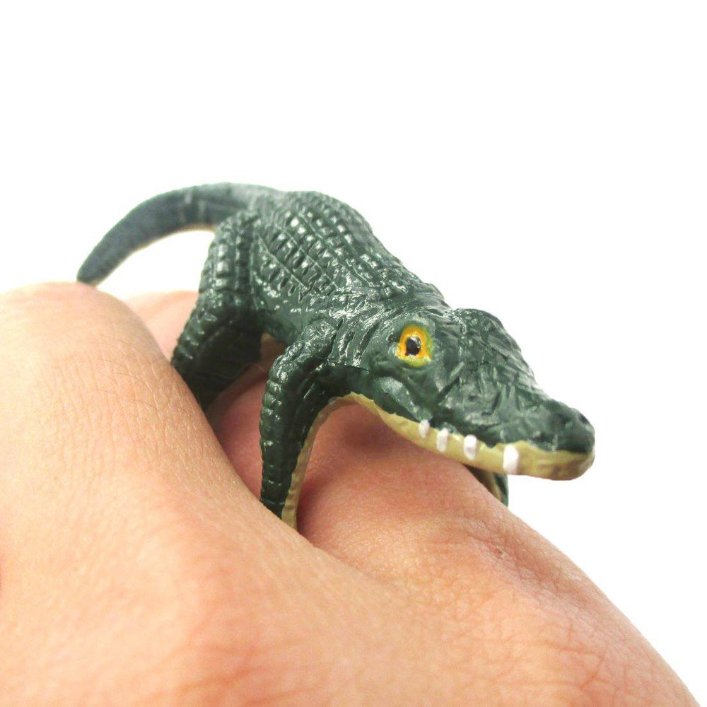 3D Crocodile Alligator Figurine Shaped Animal Wrap Ring for Children