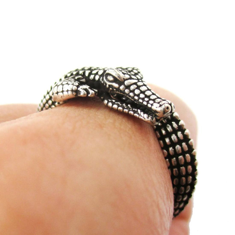 Realistic Crocodile Alligator Shaped Animal Wrap Around Ring in Silver
