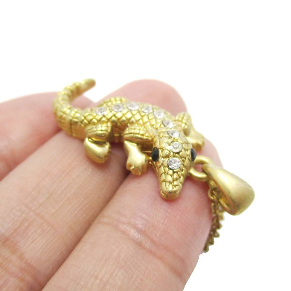3D Crocodile Alligator Shaped Pendant Necklace in Gold