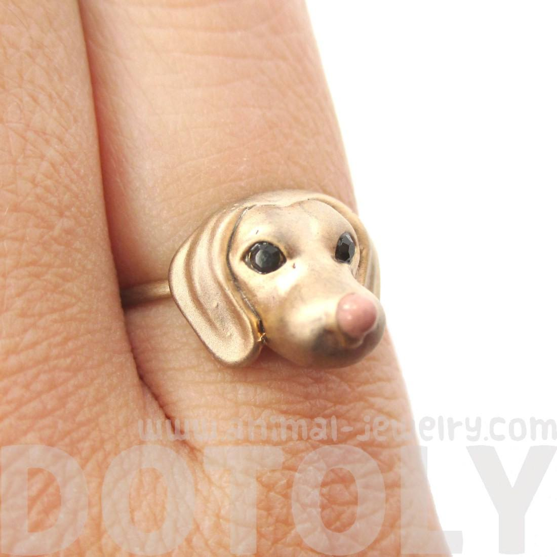 3D Dachshund Puppy Face Shaped Animal Ring | DOTOLY