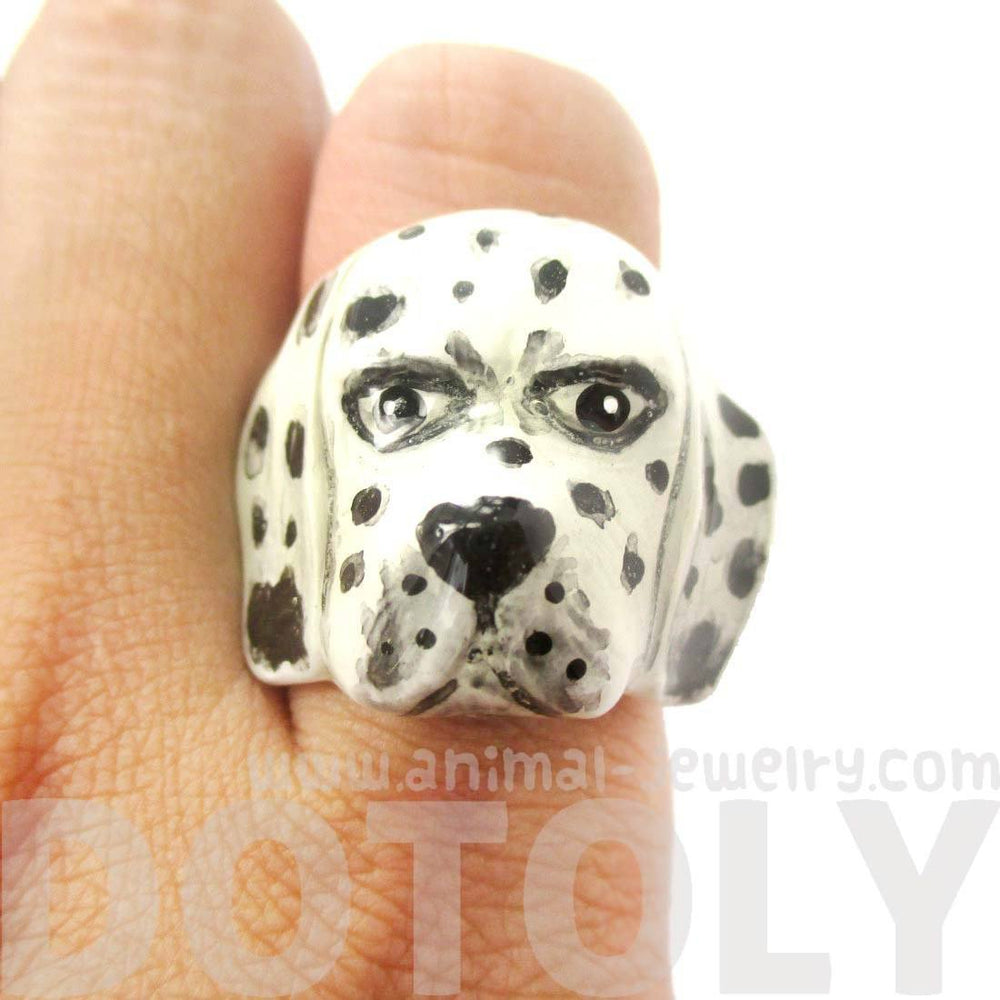 3D Dalmatian Dog Face Shaped Enamel Animal Ring in US Size 7 and 8