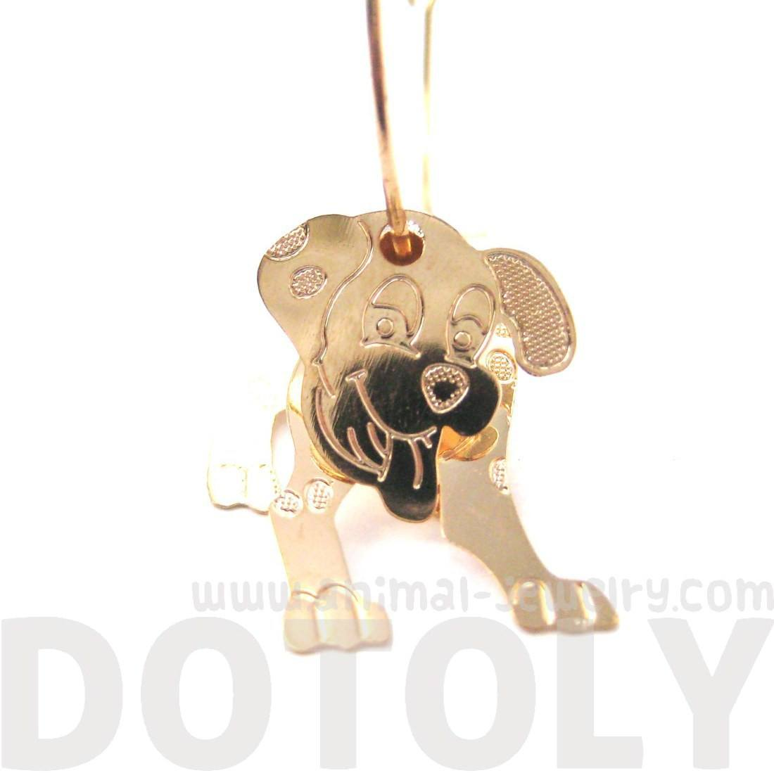 3D Dalmatian Puppy Dog Shaped Dangle Hoop Earrings in Gold | DOTOLY