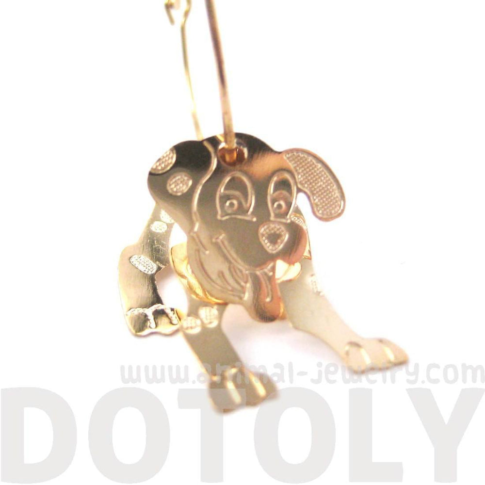 3D Dalmatian Puppy Dog Shaped Dangle Hoop Earrings in Gold | Animal Jewelry | DOTOLY