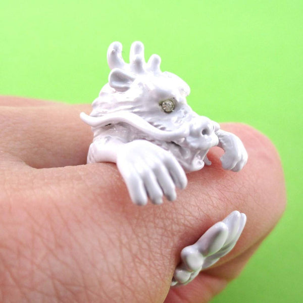 3D Detailed Dragon Wrapped Around Your Finger Shaped Ring in White