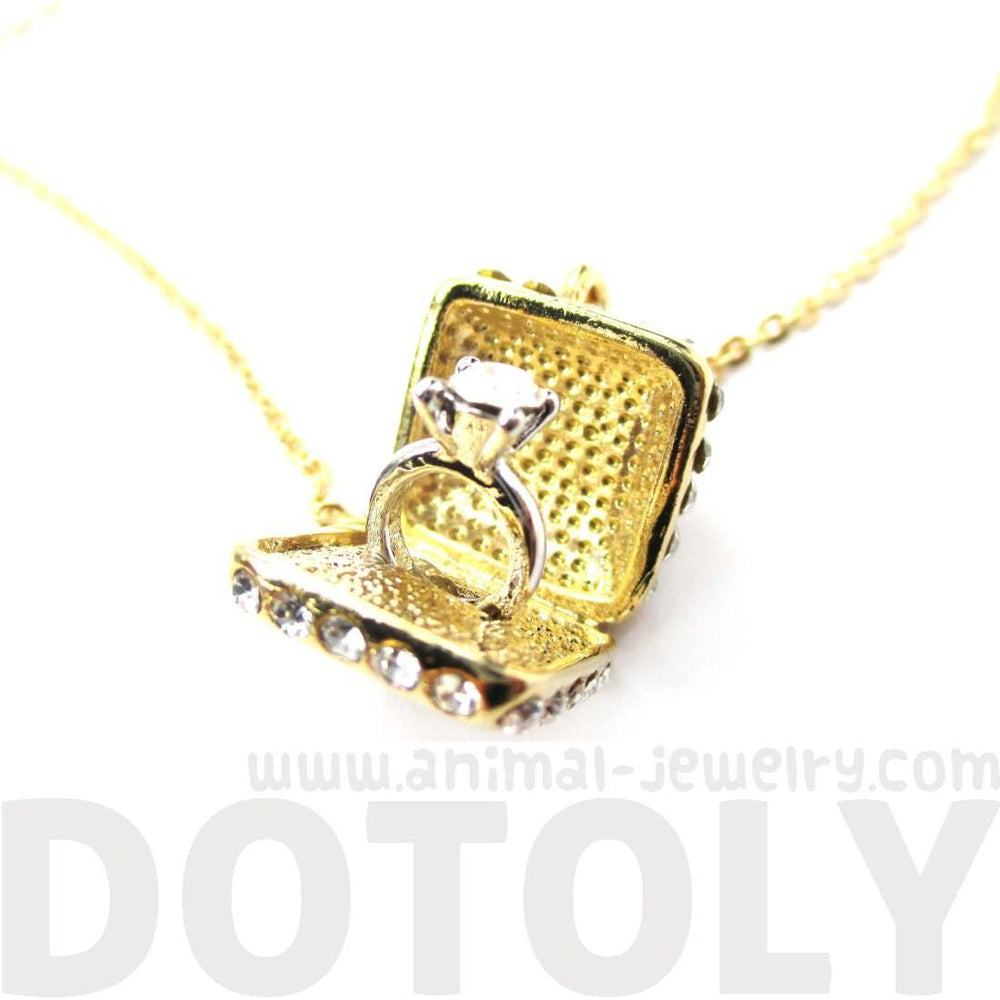3D Diamond Ring Love Proposal Pendant Necklace in Gold