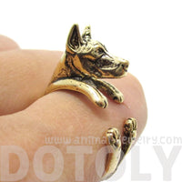 3D Doberman Dog Shaped Animal Wrap Ring in Shiny Gold
