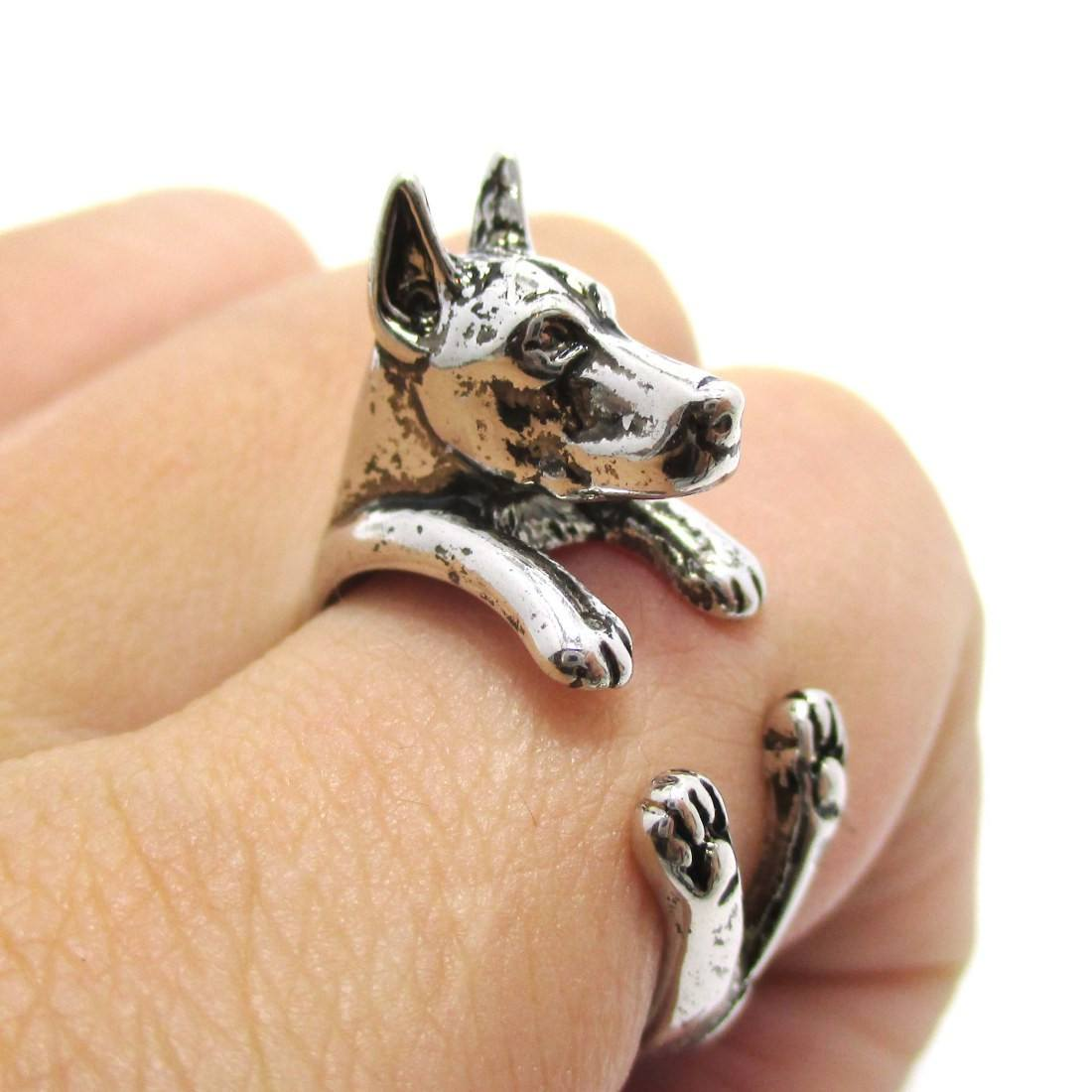 3D Doberman Dog Shaped Animal Wrap Ring in Shiny Silver