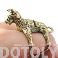 3D Dog Shaped Animal Wrap Knuckle Joint Ring in Brass | Size 5 to 9