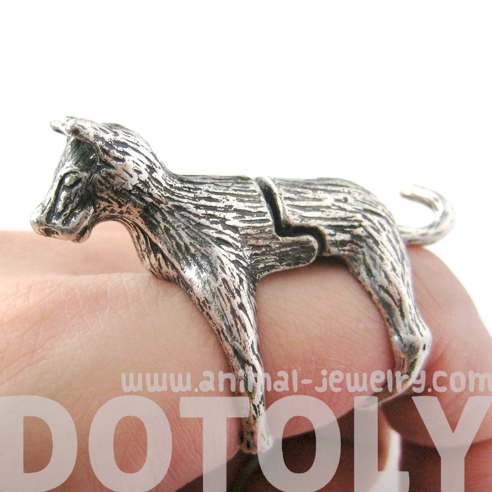 3D Dog Shaped Animal Wrap Knuckle Joint Ring in Silver | Size 5 to 9