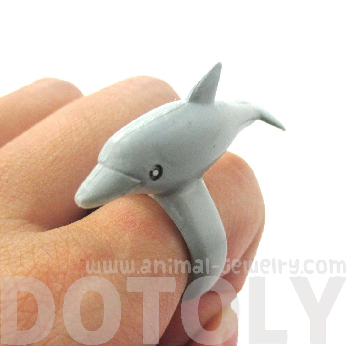 3D Dolphin Figurine Shaped Animal Wrap Ring for Children | Size 4 to 6