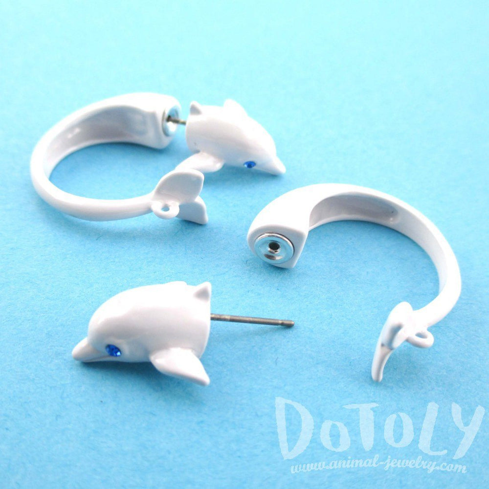 Dolphin Shaped Front and Back Stud Earrings in White