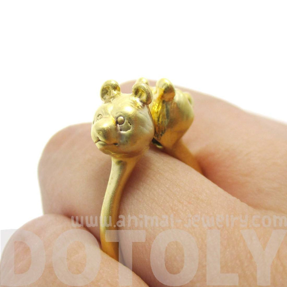 3D Double Panda Bear Head Shaped Animal Ring in Gold