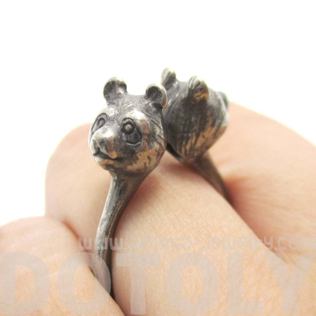 3D Double Panda Bear Head Shaped Animal Ring in Silver