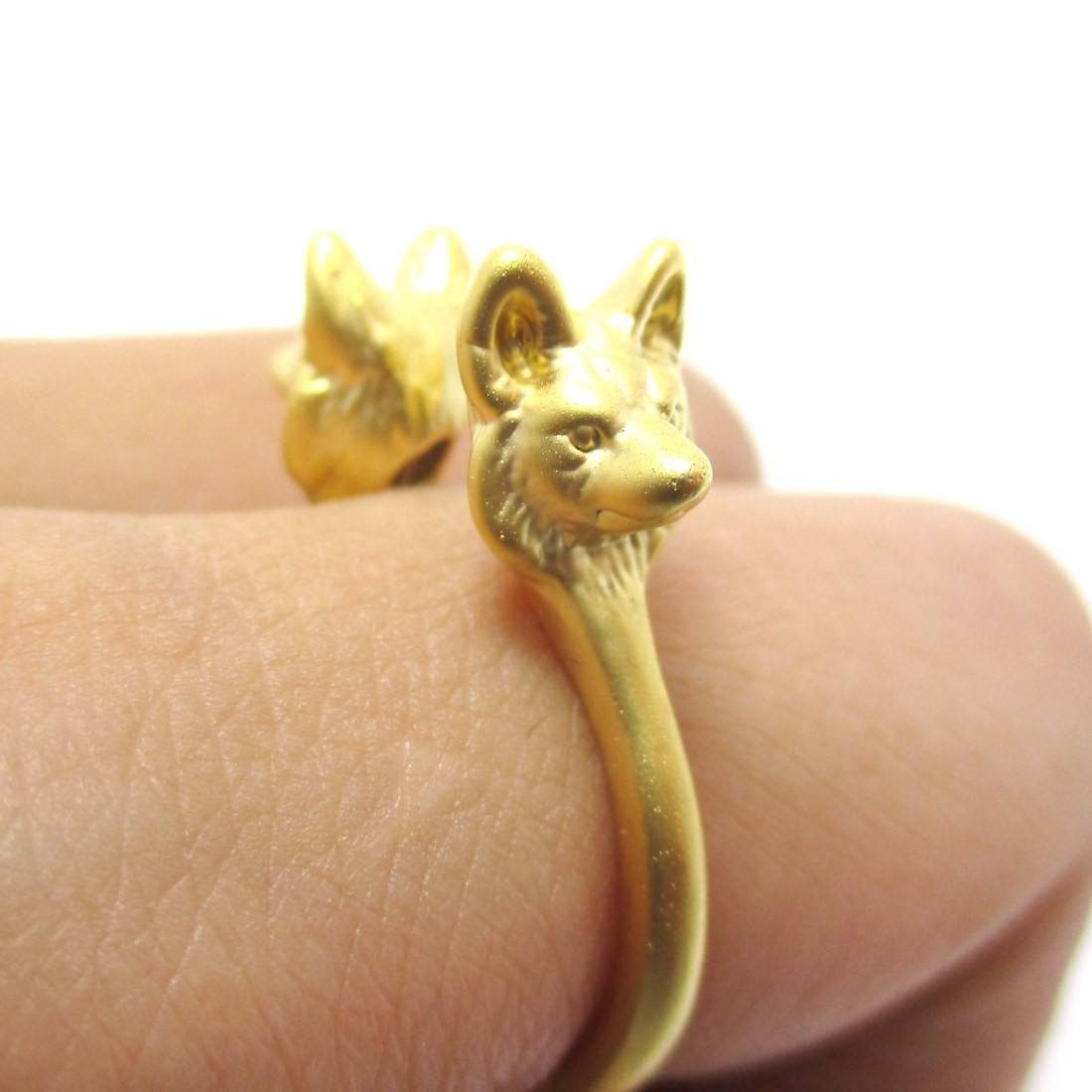 3D Double Wolf Face Shaped Animal Ring in Gold | DOTOLY