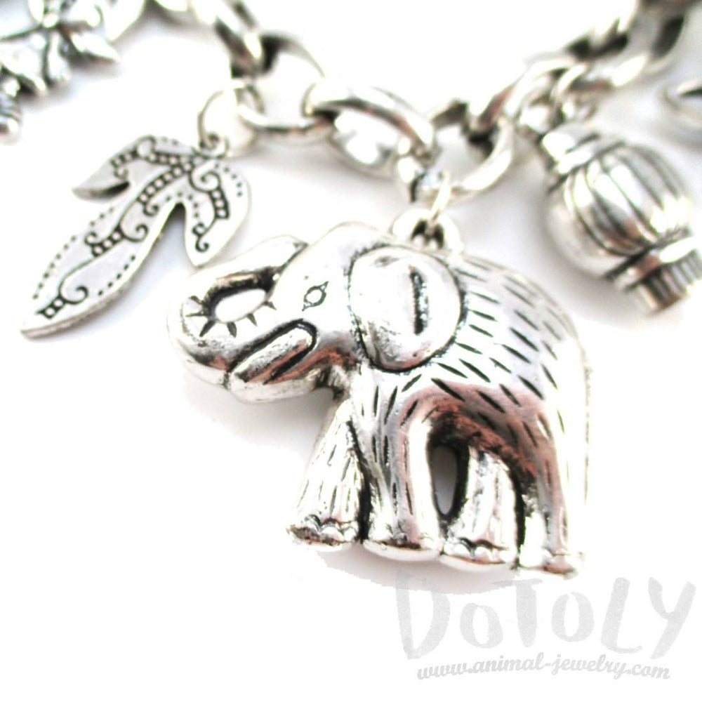 Elephant Floral Leaves Shaped Charm Necklace in Silver